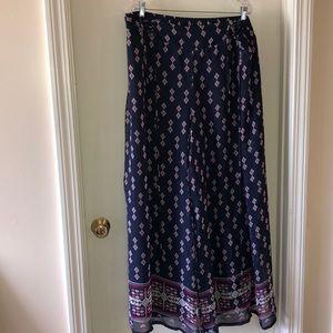 Cato Geometric Flowy Pants, Blue/Pink, Size 26/28